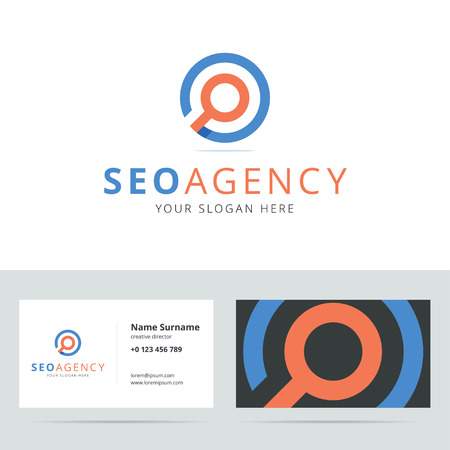 internet marketing: SEO agency and business card template. Search engine optimization . Search . Search icon. Search sign. Private detective .  origami style with overlapping effect. illustration.