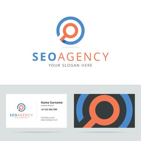 agencia de SEO y tarjetas de visita. El posicionamiento en buscadores. Buscar . icono de búsqueda. señal de búsqueda. Detective privado . estilo origami con efectos superpuestos. ilustración.