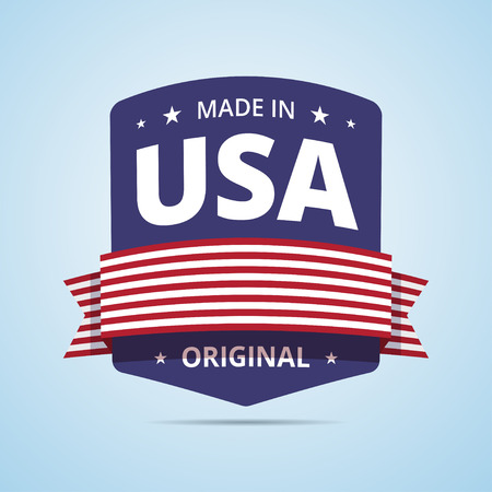 made in: Made in USA badge. USA original product stamp with ribbon and stars. Nation flag of USA colors. illustration in flat style.