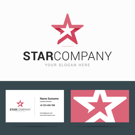 business card template with star shape. Star shape in paper, origami style with overlapping effect. illustration in flat style.