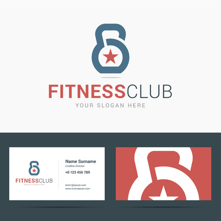 D business card template for fitness club weight icon with star d business card template for fitness club weight icon with star shape line weight colourmoves