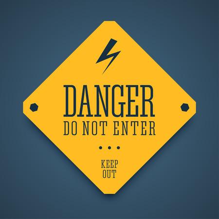 poison sign: Danger sign. Attention sign. Danger not enter banner with lightning icon. Keep out sign. Warning zone sign. High voltage zone sing. Zika virus danger. illustration.