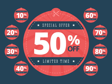 50 to 60: Special offer cut off coupons. Big sale coupons. Scissors cutting through coupons dotted line. Limited time sale coupons with 10, 20, 30, 40, 50, 60, 70, 80, 90 percents off with scissors. illustration in flat style.