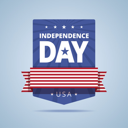 Independence day badge. USA independence day emblem. Independence day with flag ribbon and stars. Independence day sign in USA flag color. illustration in flat style.