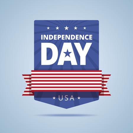 independencia: insignia del Día de la Independencia. EE.UU. día de la independencia emblema. Día de la Independencia con la cinta de la bandera y las estrellas. signo del día de la Independencia de EE.UU. color de la bandera. ilustración de estilo plana.