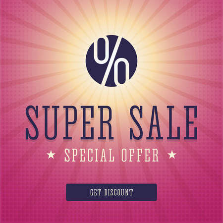 offer icon: Super sale . Super sale advert. Special discount page for print or web. Special offer card. Circle icon with percent sign and rays. illustration. Illustration