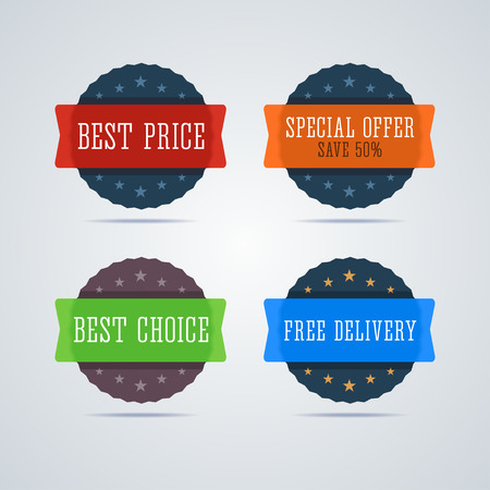plastic material: Best price badge. Special offer - save 50 percent badge. Best choice badge. Free delivery badge. Special promotion badges. Transparent plastic badges in material design style. Round badges. illustration. Illustration
