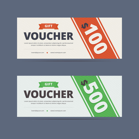 Gift voucher template, layout. Gift voucher coupon. 100 and 500 dollars. illustration in clean flat style for print or web design.
