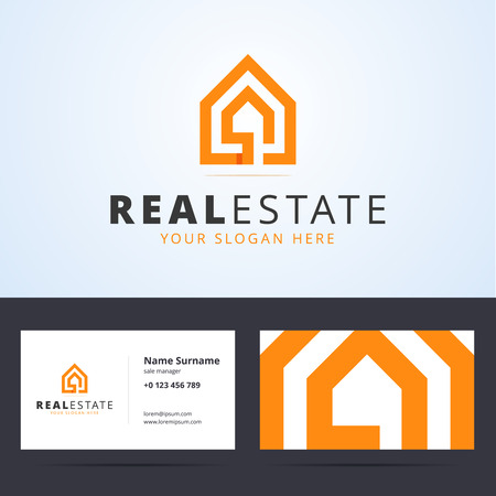 Real estate logo. Real estate business card template. Real estate sign with home shape. Ribbon, overlapping style. Vector illustration for print.