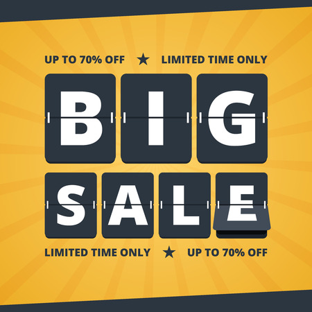 mechanical panel: Big sale banner. Big sale illustration. Big sale advertising with flip scoreboard alphabet. Mechanical countdown letters. Black and yellow colors in flat style. Vector illustration for print or web design. Illustration