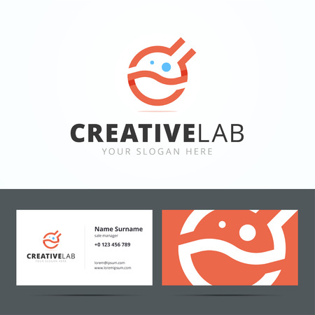 laboratory equipment: Logo and business card template for creative studio. Medical logo. Chemical logo. Laboratory equipment vector logo. Lab logo. Science logo.