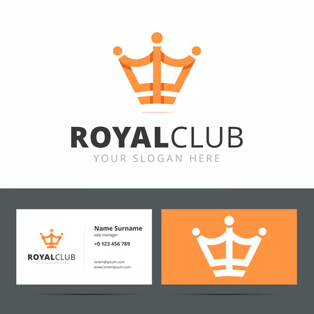 monarchy: Royal club logo and business card template. Vip club sign. Crown sign origami style with overlapping effect. Vector illustration for print or web. Illustration