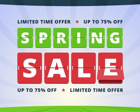 spring green: Spring sale banner. Limited time offer illustration. Flip mechanical letters on scoreboard. Vector illustration for print or web. Illustration