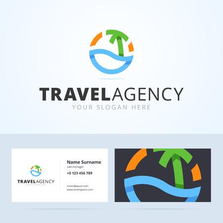 여행사 로고 및 명함 템플릿입니다. 종이 접기, 추상 물, 바다, 야자수와 태양 중첩 스타일의 로고. 인쇄 또는 웹 벡터 일러스트 레이 션.