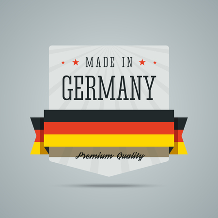 deutchland: Made in Germany label. badge with Germany flag, ribbon, stars. Badge for premium quality products. Fully scalable illustration for web or print.