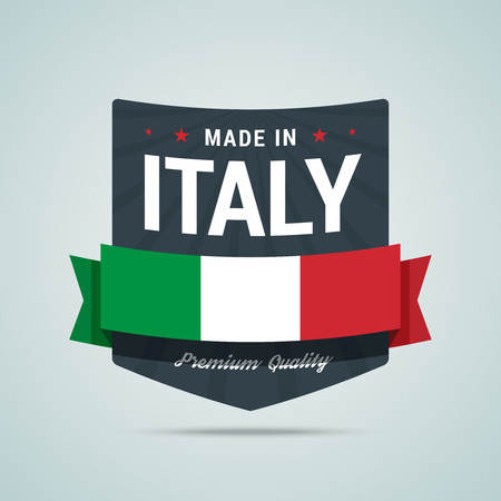 scalable: Made in Italy badge. emblem with Italy flag, ribbon and rays. Fully scalable for web or print.