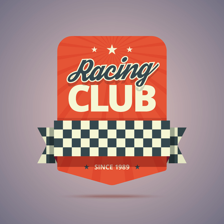 old cars: Racing club badge. Racing club emblem in retro style. Vintage colors with stars, rays, ribbon and finish flag. illustration in flat style for print or web.