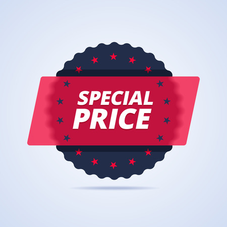 cheap prices: Special price badge, stamp. illustration in flat style for print or web.
