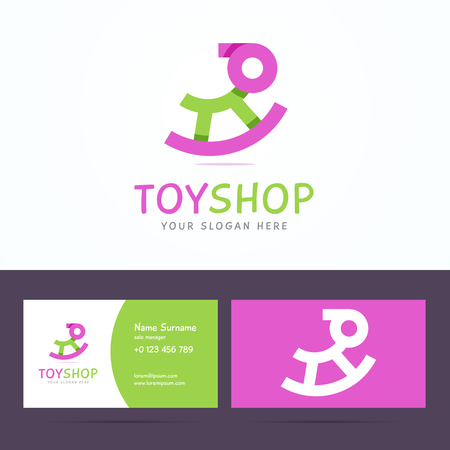toy shop: business card template for toy shop. Origami line style with overlapping effect. illustration in flat style.
