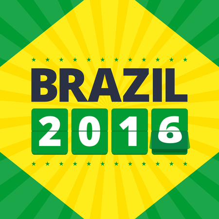 numbers abstract: Brazil 2016 poster. Abstract illustration in brazil flag colors - green and yellow. Flip mechanical numbers. Illustration