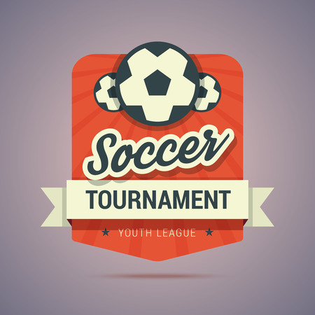 Soccer tournament badge - youth league. Vintage colors and flat style.