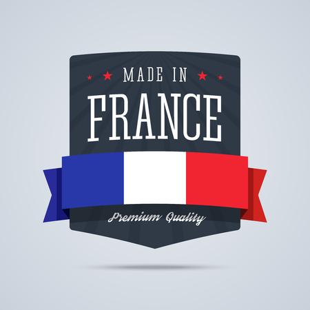 Gemaakt in Frankrijk-kenteken met lint en vlag. Stock Illustratie