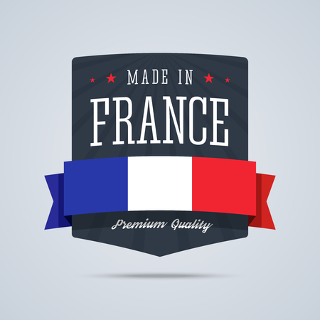 Made in France badge with ribbon and flag.