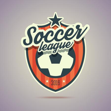 Soccer League badge. Retro vintage stijl met voetbal teken en de sterren. Illustratie in vlakke stijl voor uw web of print project.