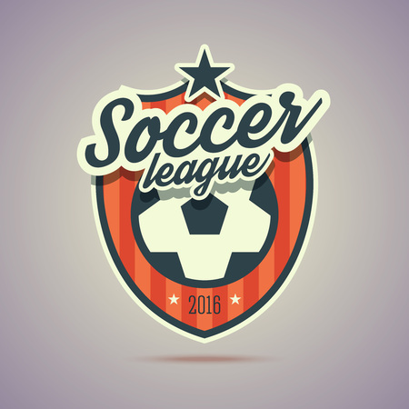 Soccer league badge. Retro vintage style with soccer ball sign and stars. Illustration in flat style for your web or print project. Çizim