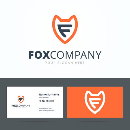 Business card template with fox sign and letter F. Illustration