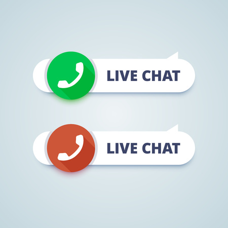 offline: Live chat buttons. Online and offline variants. Phone sign. illustration in material design style.