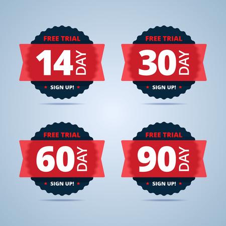 insignias de prueba gratuito. 14, 30, 60 y 90 días pegatinas. ilustración de estilo plana con efecto plástico transparente.