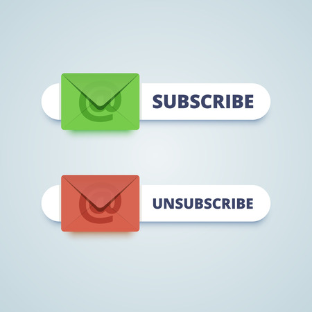 emails: Subscribe and unsubscribe buttons with envelope sign.