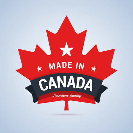 Made in Abzeichen Kanada. Bunte Label für Kanada-Produkte. Vektor-Illustration im flachen Stil. Vektorgrafik