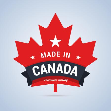 Made in Canada badge. Kleurrijke label voor canada producten. Vector illustratie in vlakke stijl. Stock Illustratie