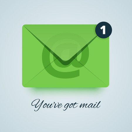 you've got mail: Youve got mail illustration. Green envelope icon with transparent effect. Paper style with soft shadow. New email circle sign. Vector illustration for print or web.