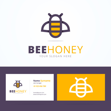 Bee honey logo and business card template. Linear bee sign with overlapping effect. Vector illustration in flat, line style for print or mobile. Vettoriali