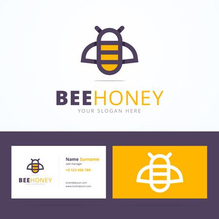 Bijenhoning logo en visitekaartje sjabloon. Lineaire bee bord met overlappende effect. Vector illustratie in flat, lijnstijl voor print of mobiel.