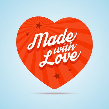 Gemaakt met liefde afbeelding. Platte hart met kalligrafische tekst. Vector illustratie in vlakke stijl.