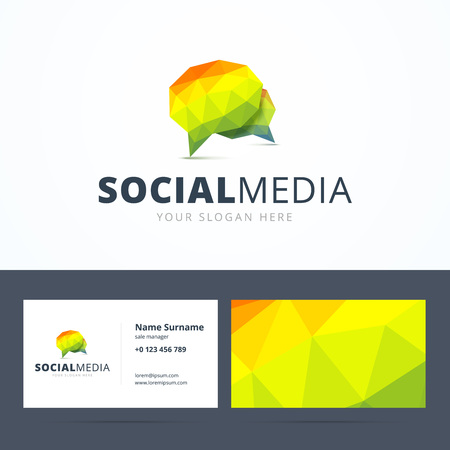 Social media logo and business card template abstract geometric social media logo and business card template abstract geometric triangle speech bubble sign vector reheart Gallery