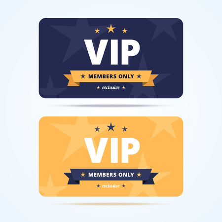 only members: Vip club cards. Members only card for casino, private club. Vector illustration in flat style.