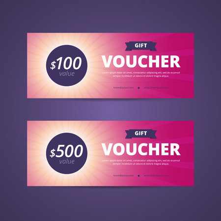 vouchers: Gift vouchers with 100 and 500 dollars value. Sunlight background with rays. Vector illustration for print or web project.