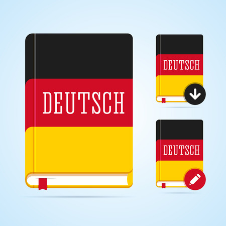 deutsch: Deutsch book illustration with download and edit icons. Vector image for web or print.