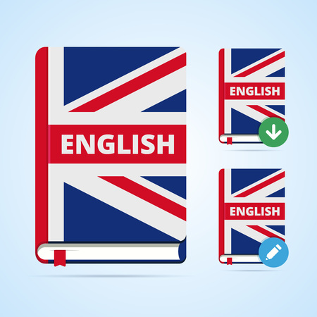english book: English book illustration with download and edit icons. Vector image for web or print.