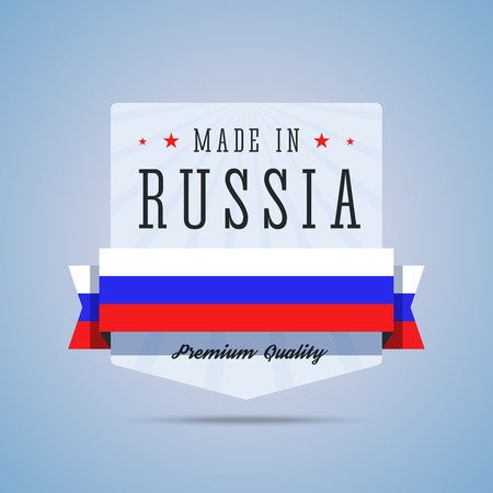 made russia: Made in Russia badge. Emblem with Russia flag for premium quality products. Vector illustration in flat style.