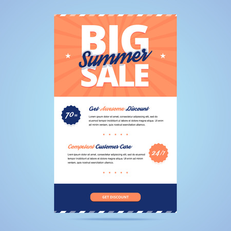 emails: Big summer sale newsletter template. Email layout in flat style. Illustration