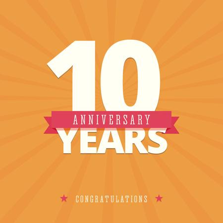 10 jarig jubileum kaart, poster sjabloon. Stock Illustratie