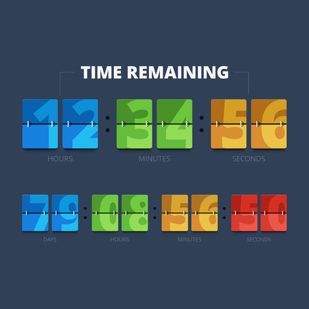 time remaining: Time remaining illustration. Countdown mechanical clock in flat style. Illustration