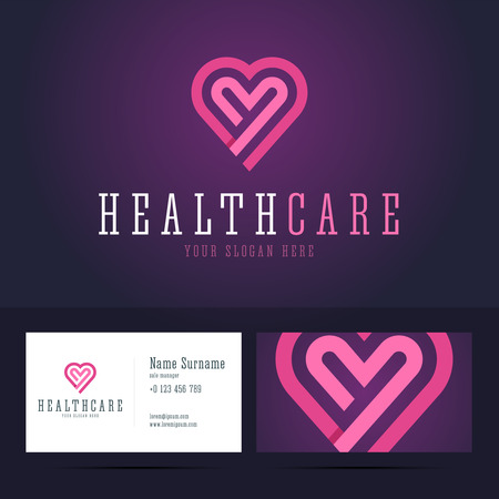 heart health: Health care  and business card template. Heart shape in flat, origami style with overlapping effect.