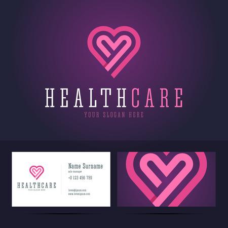 forme et sante: Soins de santé et modèle de carte de visite. En forme de coeur dans l'appartement, style origami avec chevauchement effet.